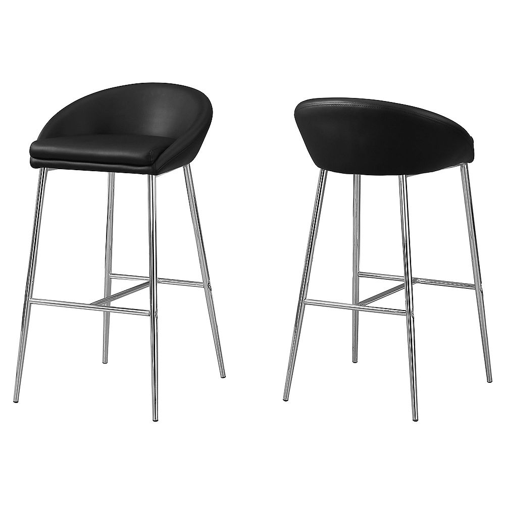 Monarch Specialties Barstool Black Chrome Base Bar Height (Set of 2)