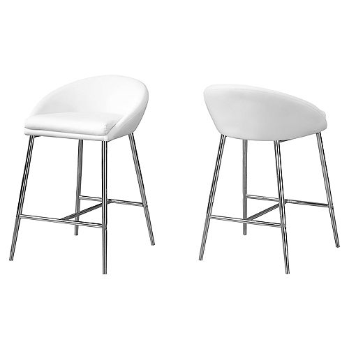 Monarch Specialties Barstool White Chrome Base Counter Height (Set of 2)
