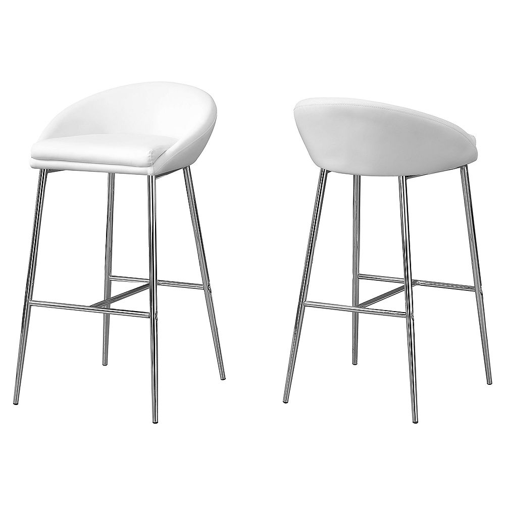 Monarch Specialties Barstool White Chrome Base Bar Height (Set of 2)