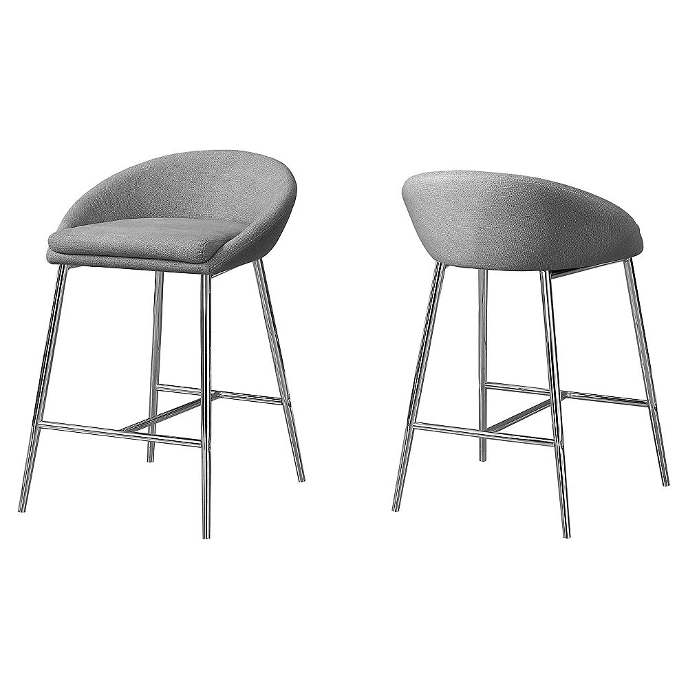 Monarch Specialties Barstool Grey Fabric Chrome Counter Height (Set of 2)