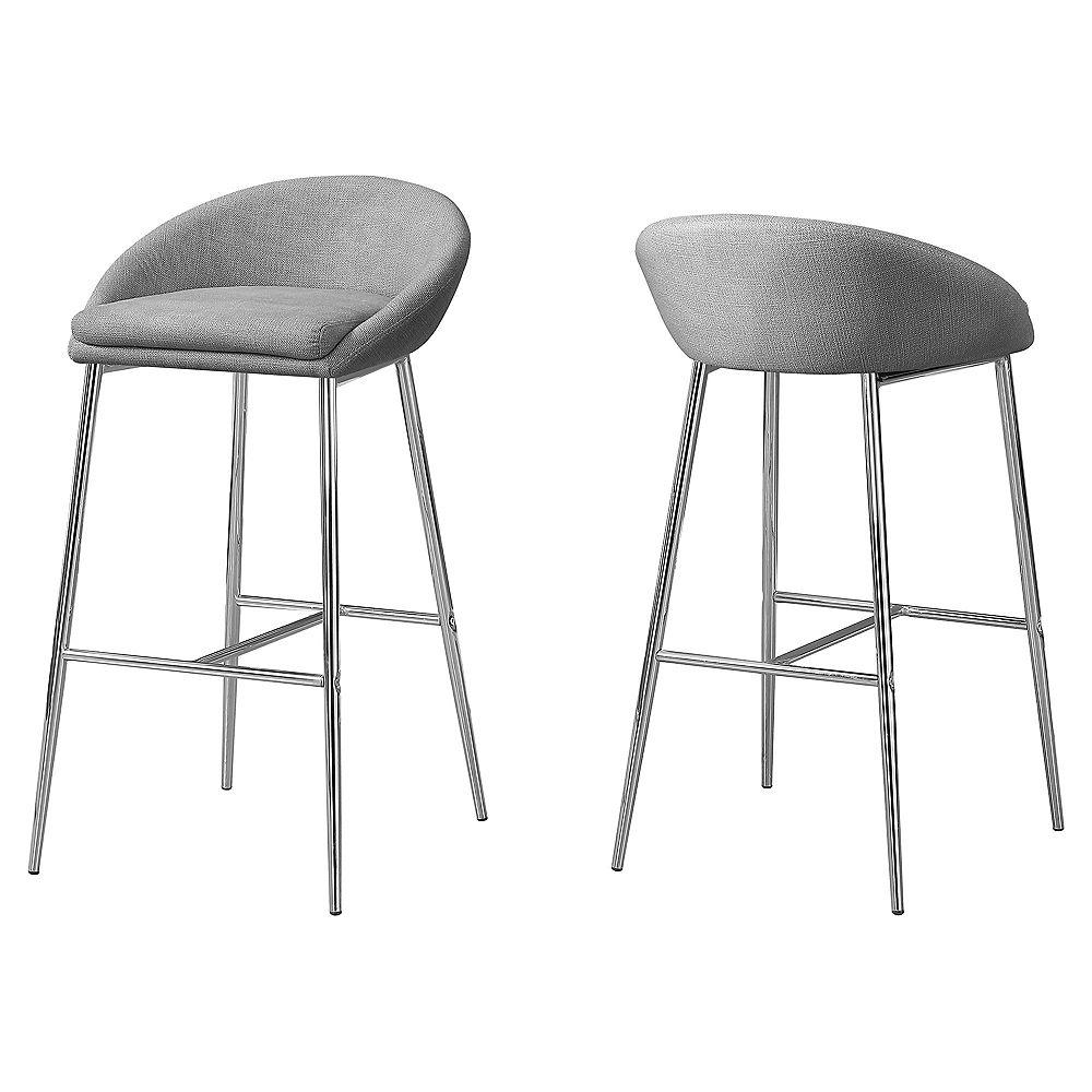 Monarch Specialties Barstool Grey Fabric Chrome Base Bar Height (Set of 2)