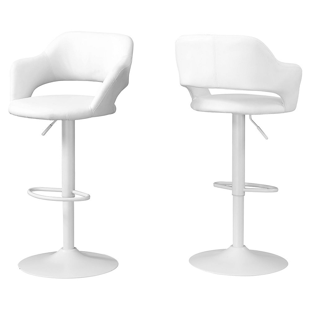 Monarch Specialties Barstool - White White Metal Hydraulic Lift