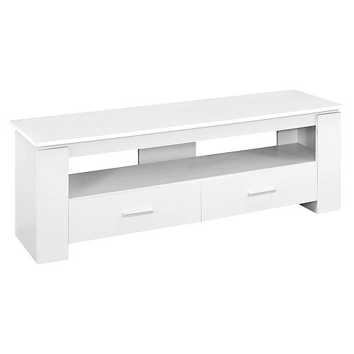 Tv Stand - 48-inch LWhite With 2 Storage Drawers