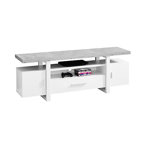 Tv Stand - 60-inch L White Cement-Look Top