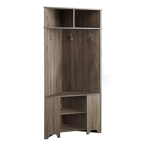 Monarch Specialties Hall Tree - 67-inch H Dark Taupe Corner Unit