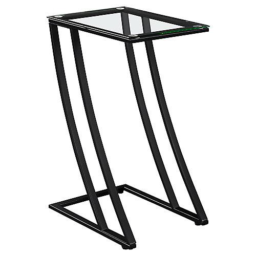 Table D'Appoint - Metal Noir Avec Verre Trempe