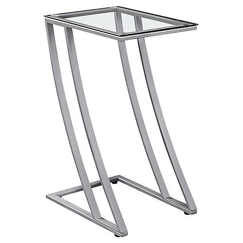 Table D'Appoint - Metal Argent Avec Verre Trempe