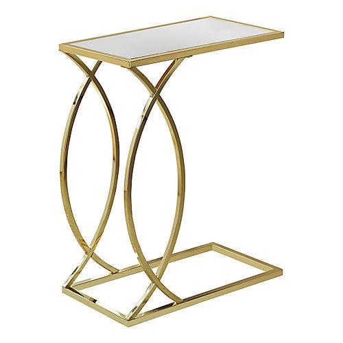 Table D'Appoint - Dessus Miroir Avec Metal Or