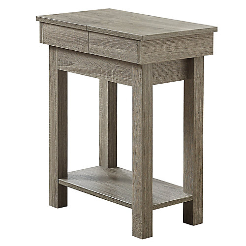 Accent Table - 24-inch H Dark Taupe With Storage