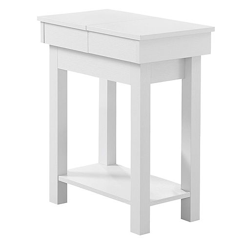 Accent Table - 24-inch H White With Storage