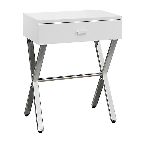 Accent Table - 24-inch H Glossy White Chrome