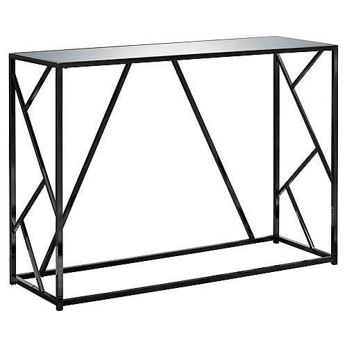 Monarch Specialties Table D'Appoint - 42 po L Nickel Noir Dessus Miroir