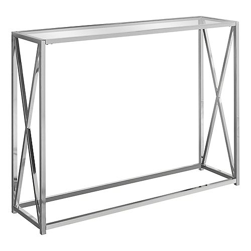 Accent Table - 42-inch L Chrome Metal With Tempered Glass