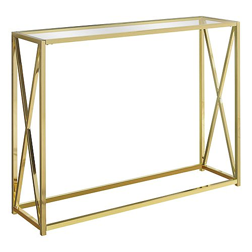 Accent Table - 42-inch L Gold Metal With Tempered Glass