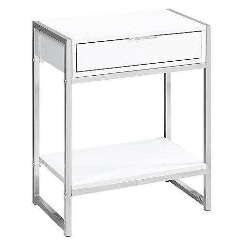 Table D'Appoint - 24 po H Blanc Lustre Avec Metal Chrome