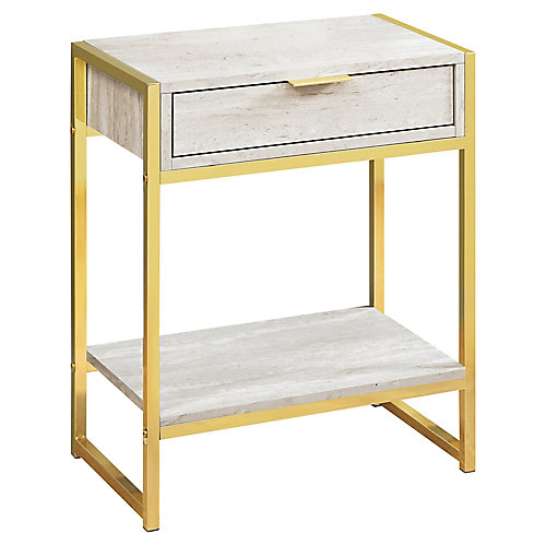 Accent Table - 24-inch H Beige Marble Gold Metal