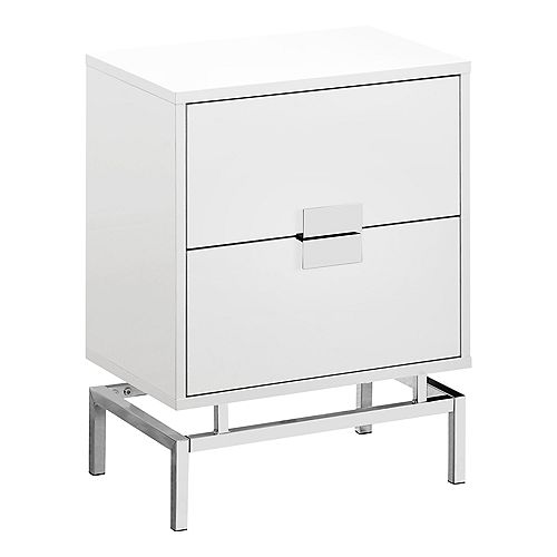 Accent Table - 24-inch H Glossy White W Chrome Metal