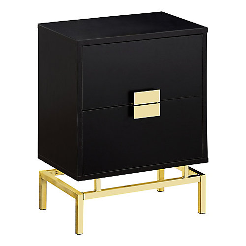 Accent Table - 24-inch H Cappuccino W Gold Metal