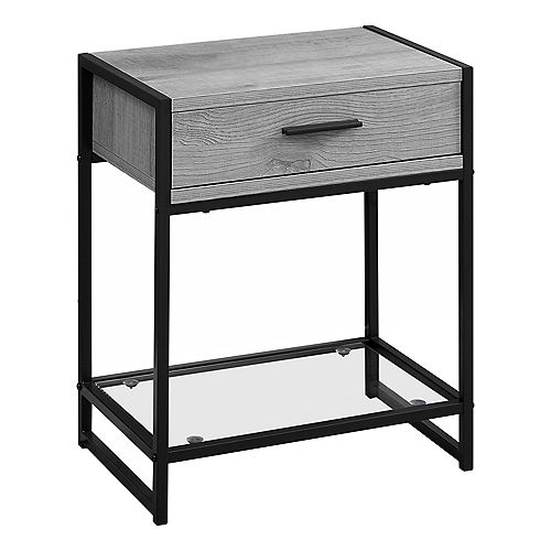 Accent Table - 22-inch H Grey Black Metal Tempered Glass
