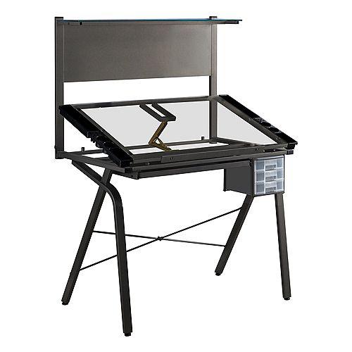 Drafting Table - Adjustable Grey Metal Tempered Glass