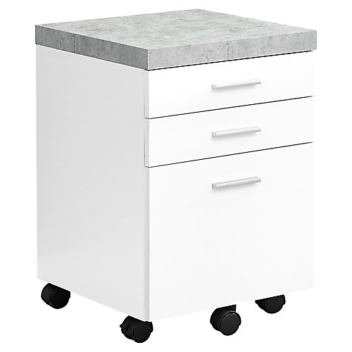Filing Cabinet - 3 Drawer White Cement-Look On Castor