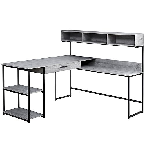 Computer Desk - Grey Black Metal Corner