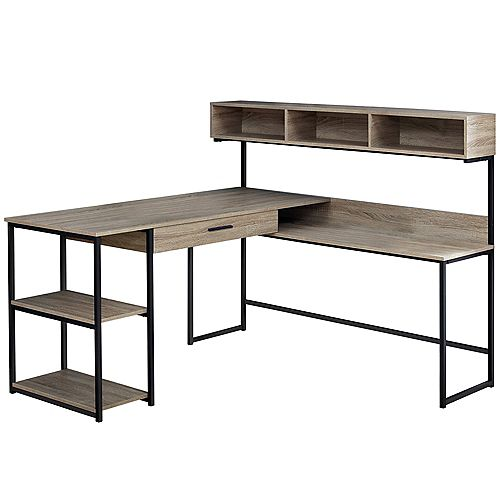 Computer Desk - Dark Taupe Black Metal Corner