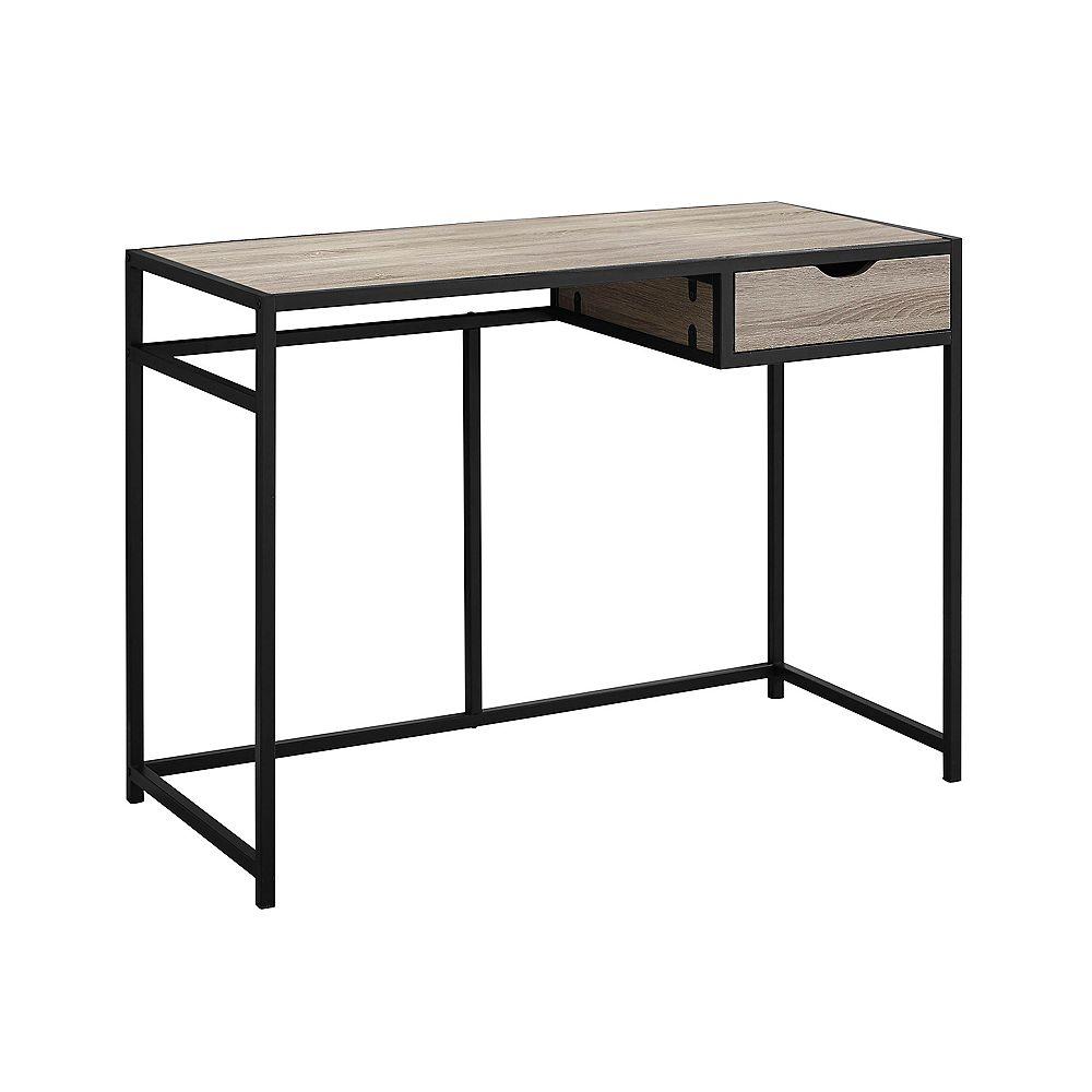 Monarch Specialties 42-inch L Computer Desk in Dark Taupe Black Metal