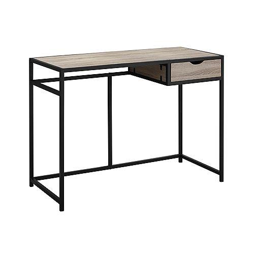 42-inch L Computer Desk in Dark Taupe Black Metal