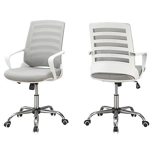 Chaise De Bureau - Blanc Meche Gris Multiple Position