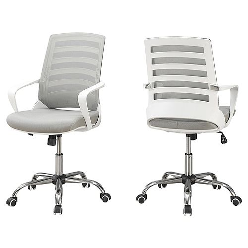 Office Chair - White Grey Mesh Multi Position