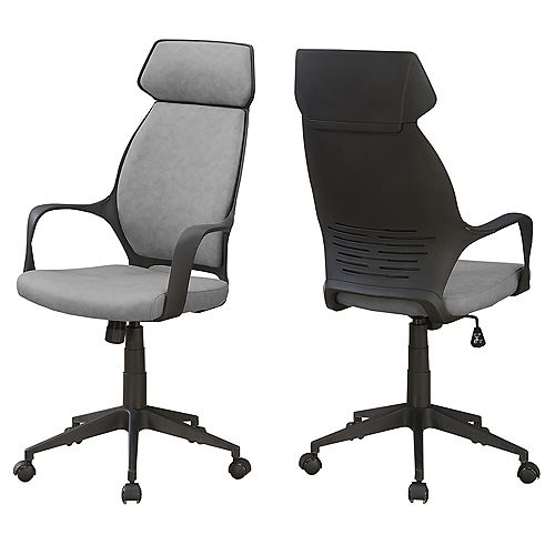 Office Chair - Grey Microfiber High Back Executive