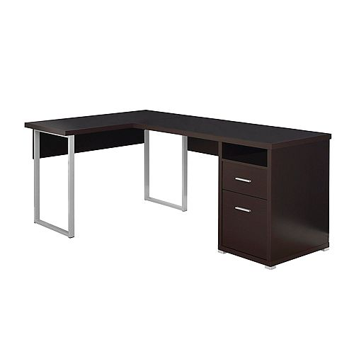 Computer Desk - 80-inch L Cappuccino Left Or Right Facing