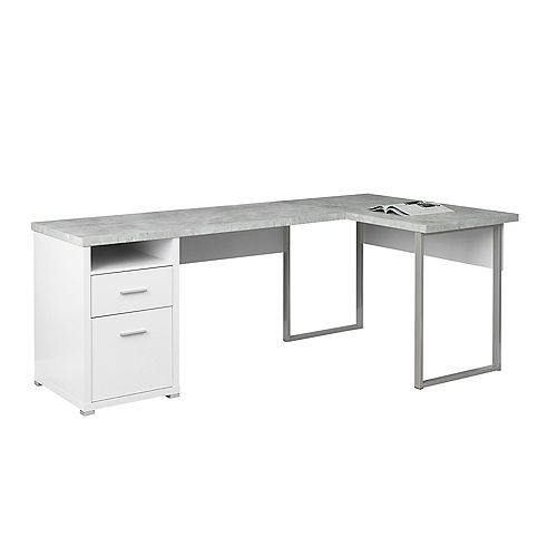Computer Desk - 80-inch L White Cement-Look LeftRight Face