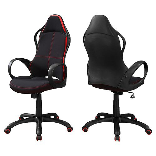 Monarch Specialties Office Chair - Black Red Fabric Multi Position