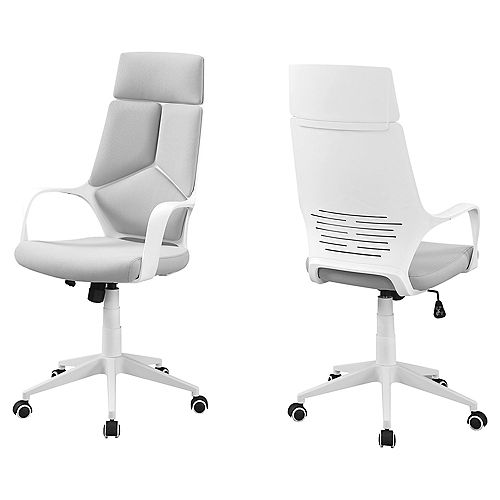 Office Chair - White Grey Fabric High Back Executive