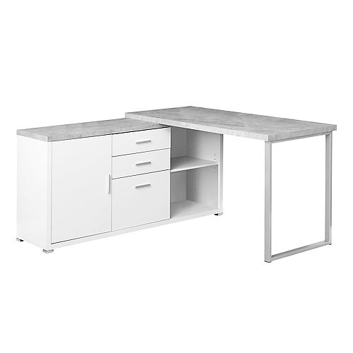 Computer Desk - 60-inch L White Cement-Look LeftRight Face