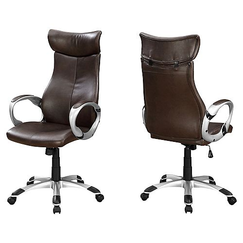 Office Chair - Brown Leather-Look High Back Executive