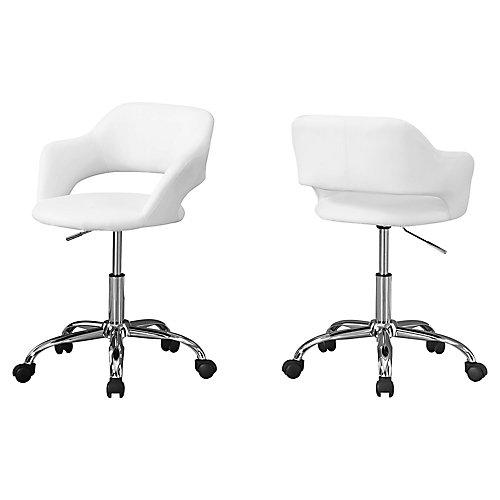 Chaise De Bureau - Blanc Metal Chrome Base Hydraulique