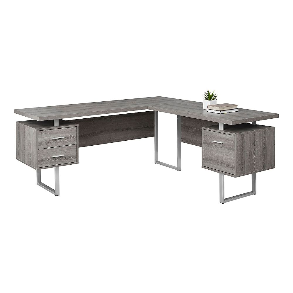 Monarch Specialties 70-inch L Left or Right Facing Computer Desk in Dark Taupe