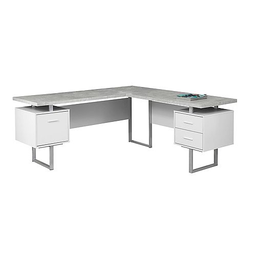 Computer Desk - 70-inch L White Cement-Look LeftRight Face