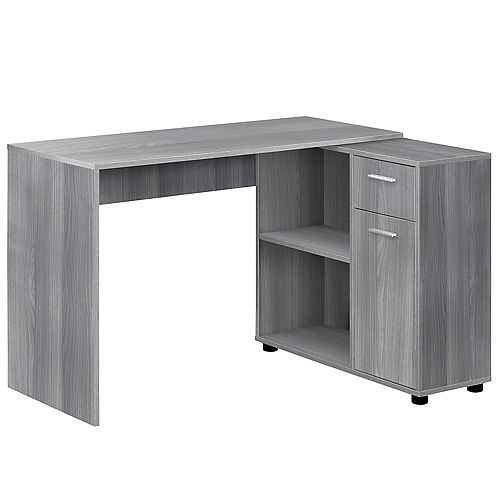 Computer Desk - 46-inch L Grey With A Storage Cabinet