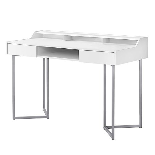 Monarch Specialties Computer Desk - 48-inch L WhiteSilver Metal