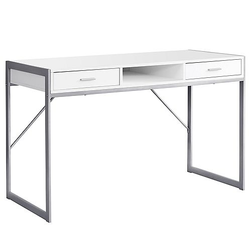Computer Desk - 48-inch LWhiteSilver Metal