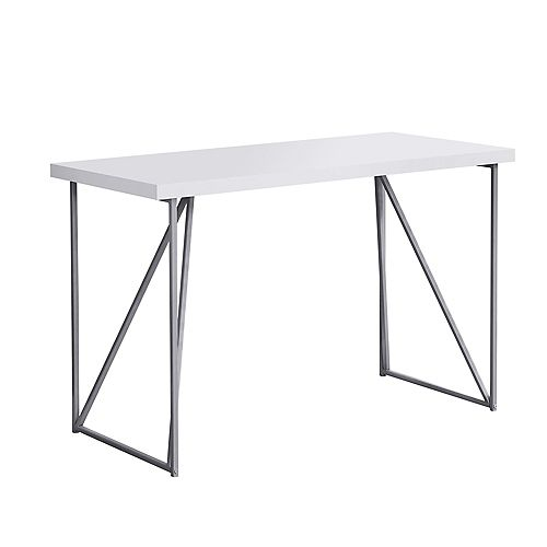 Monarch Specialties Computer Desk - 48-inch LWhiteSilver Metal