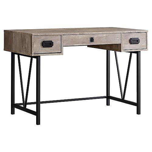 Monarch Specialties Computer Desk - 48-inch L Taupe Wood Grain Black Metal