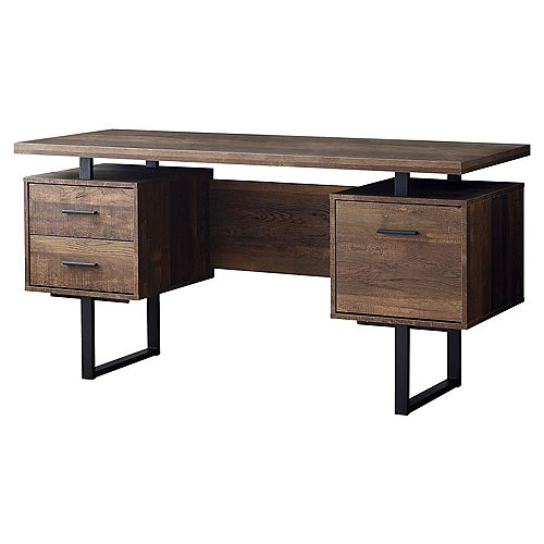 Computer Desk - 60-inch L Brown Wood Grain Black Metal