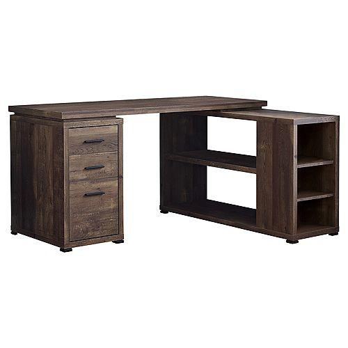 Computer Desk - Brown Wood Grain LR Facing Corner