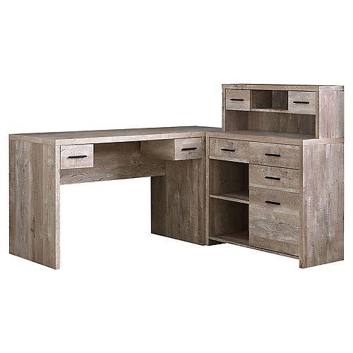Computer Desk - Taupe Wood Grain LR Facing Corner