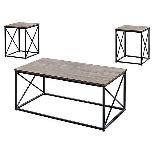 Table Set - 3-Piece Set Dark Taupe W Black Metal